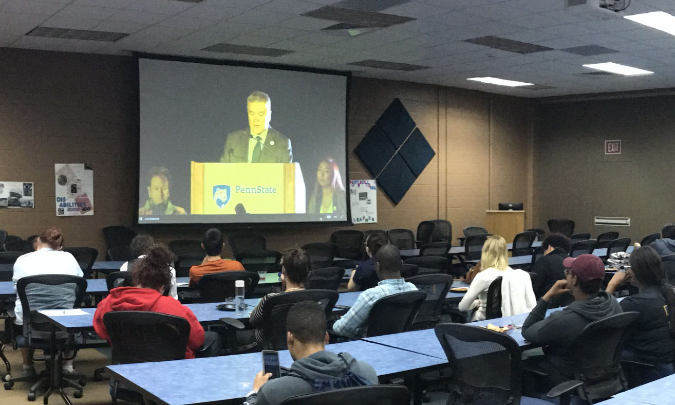 Students at Penn State Schuylkill watching the All In at Penn State livestream broadcast