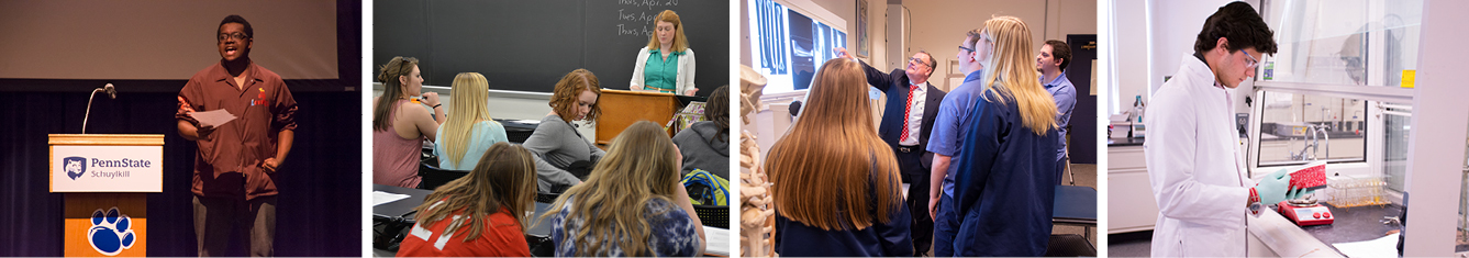 A student reads a piece for a creative writing class in the Morgan Auditorium; Dr. Valerie Schrader teaches an English class; a group of students crowd around their Radiologic Sciences instructor to look at an x-ray; and a student wearing a lab coat and safety goggles looks at a beaker while tracking data in a red notebook in Schuylkill's chemistry lab