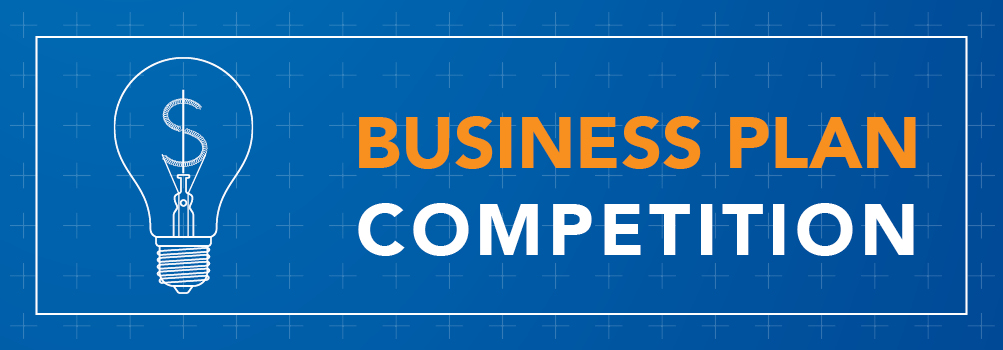 """Blueprint background with a lightbulb schematic drawn on it with the text """"Business Plan Competition"""" flanked to the right"""