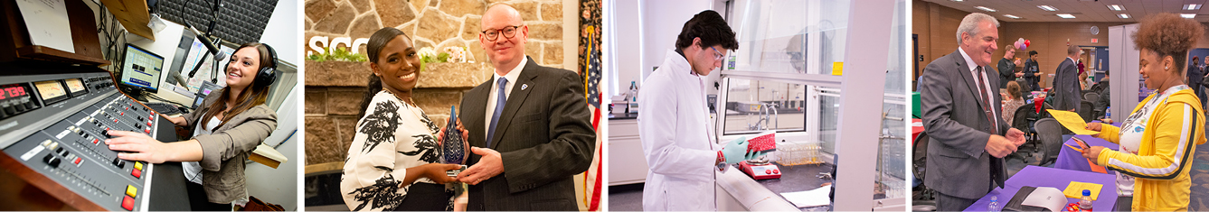 A student works a sound mixing board at a radio station; a student accepts an award from the Schuylkill Chancellor; a student reviews his notes while working in a lab and wearing a lab coat; another student shakes the hand of a local employer