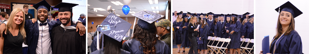 Graduating students and their families celebrate the 2018 spring commencement ceremony on Penn State Schuylkill's campus green