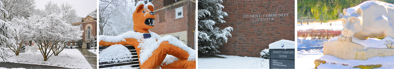 Schuylkill's Administration Building covered in snow with a snowy tree in the forefront; Nittany Lion sculpture on bench covered in snow; Student Community Center covered in snow surrounded by snowy trees; and Schuylkill's lion shrine covered in snow