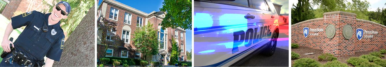 Campus police officer; Administration Building; campus police cruiser; Schuylkill campus entrance