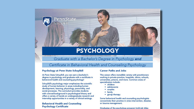 Decorative image with snapshot of Psychology PDF flier.