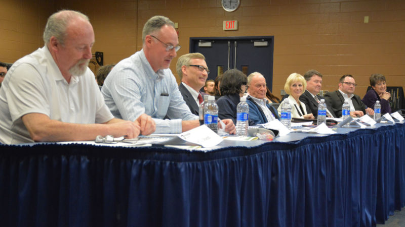 The judges panel listens to a pitch from one of the Lion Launch participants.