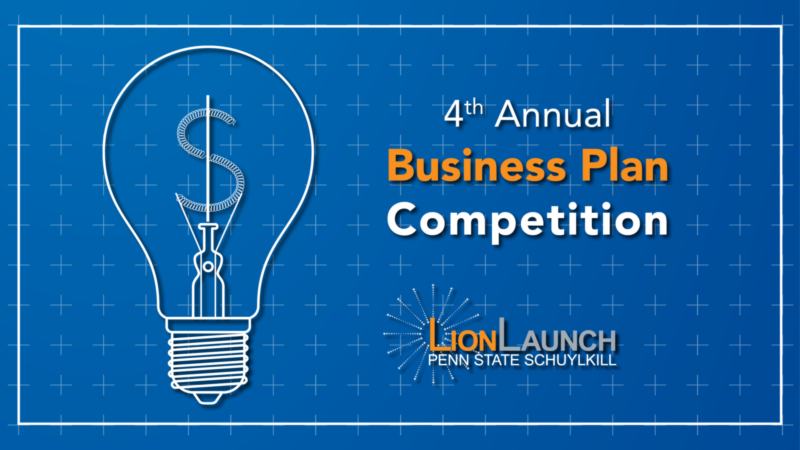 "Blueprint background with a lightbulb schematic drawn on it with the text ""Business Plan Competition"" flanked to the right"