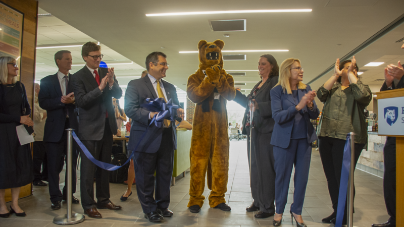 Key players in Penn State Schuylkill's Student Community Center renovation and expansion cut the ribbon on the project