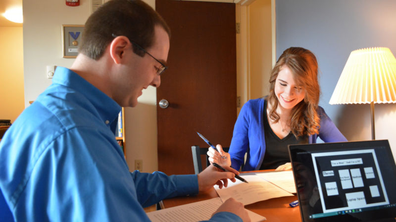 Honors students Heather and Josh prepare for their conference