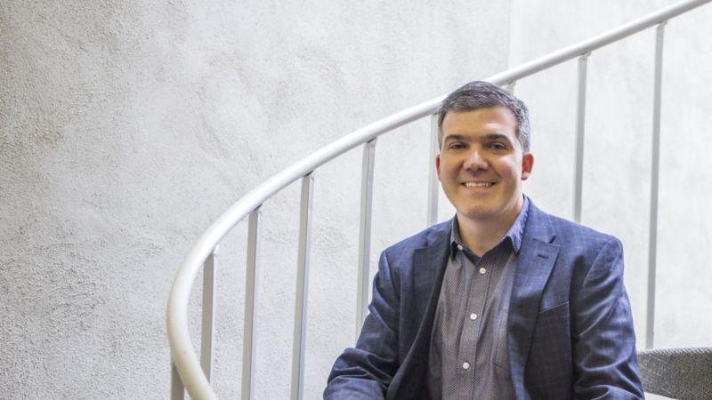 Jason Rekulak on stairs in his office building