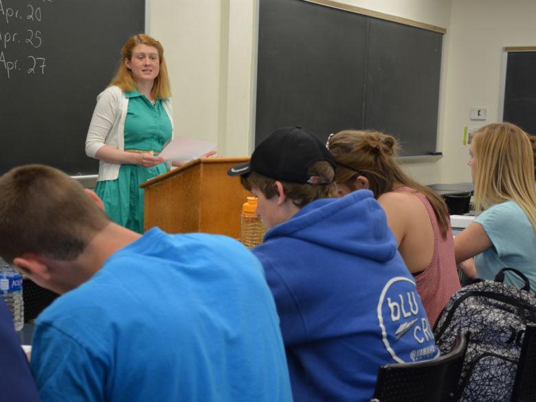 Dr. Schrader teaches a class