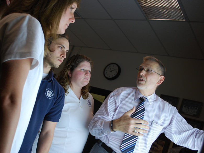 Radiological sciences teacher with students