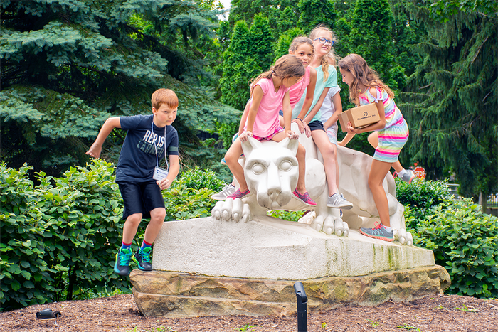 Kid's College participants visit the Penn State Schuylkill Lion Shrine.