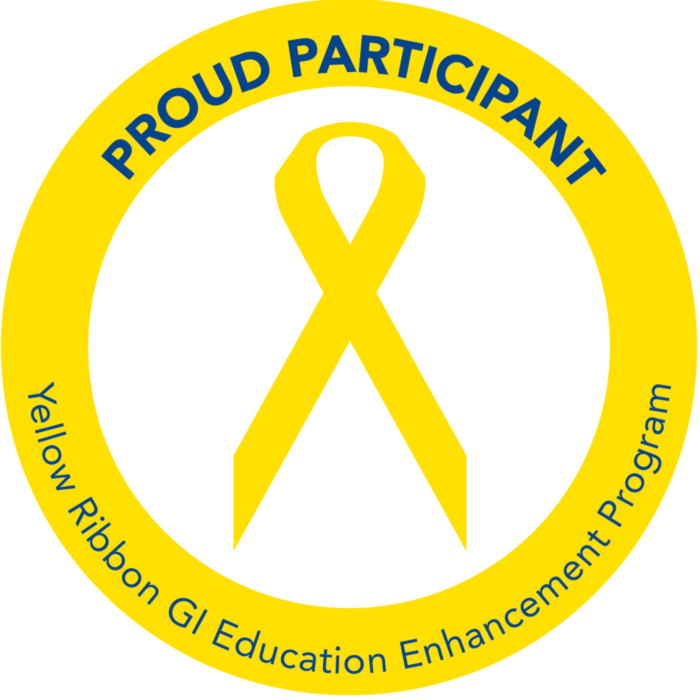 Yellow ribbon with a circle around it reading: PROUD PARTICIPANT - Yellow Ribbon GI Education Enhancement Program