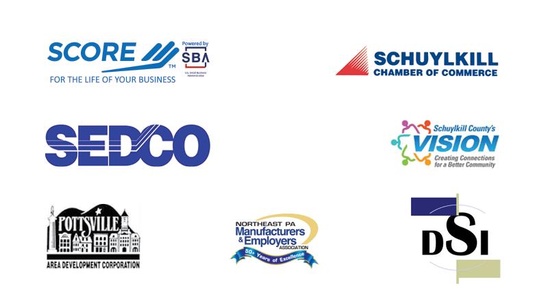 Berks-Schuylkill SCORE logo, SEDCO logo, PADCO logo, Schuylkill Chamber of Commerce logo, Schuylkill County's VISION logo, Downtown Shenandoah Inc Logo, Northeast PA Manufactuerers Logo