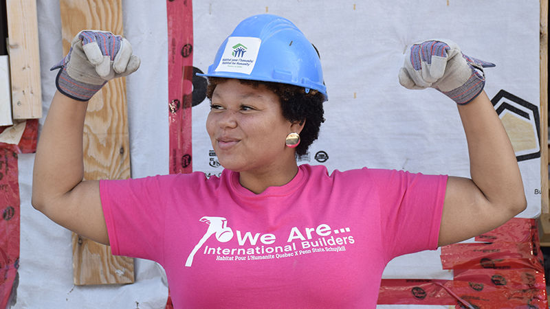 Penn State Schuylkill staff member gets ready to build a house