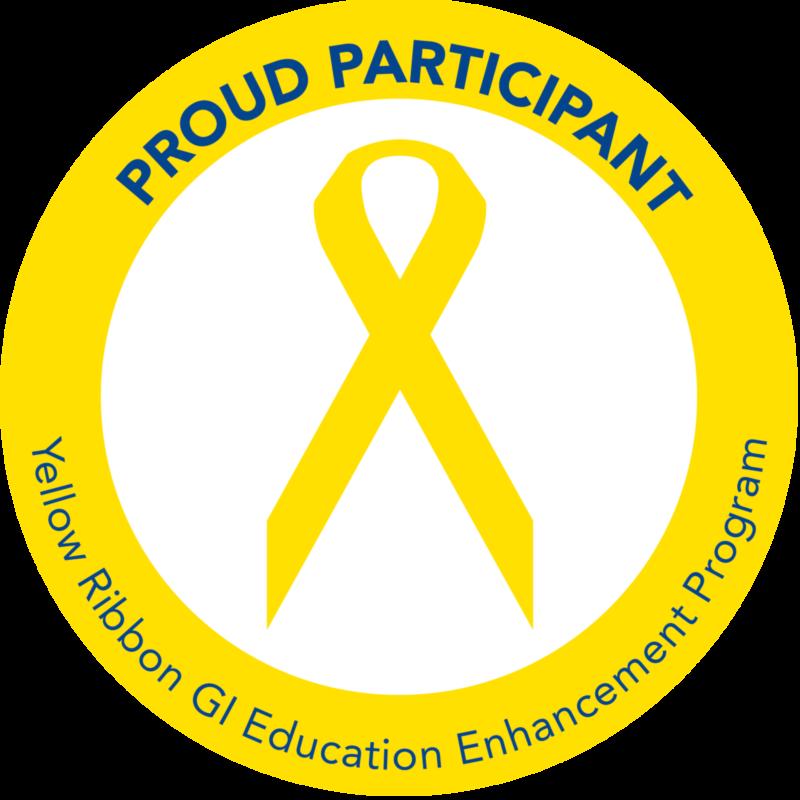 Yellow ribbon with a circle around it reading: PROUD PARTICIPANT - Yellow Ribbon GI Education Enhancement Program