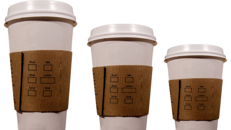 Coffee cups in three sizes: small, medium and large