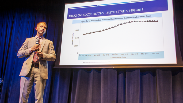 Dr. Glenn Sterner delivers a presentation examining the opioid conference since the late 1990s and early 2000s.