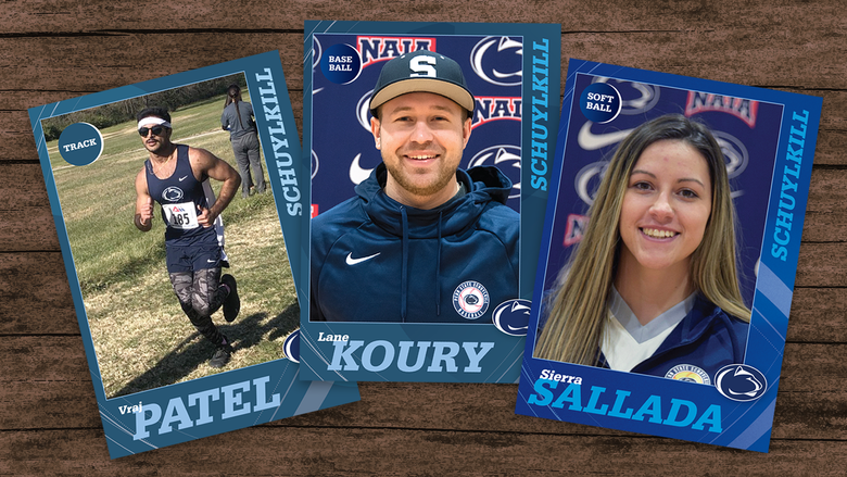 Penn State Schuylkill athletes depicted in baseball trading cards