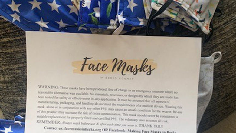 Give Back Lehigh Valley donates over 1,000 face masks.