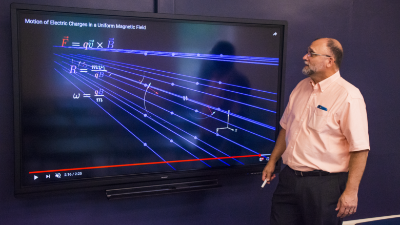 Michael Gallis, associate professor of physics at Penn State Schuylkill, uses his video animations to assist students with learning the fundamentals of physics.