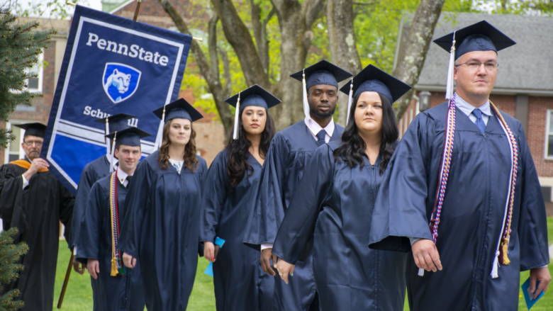 Students process at the 2018 Spring Commencement Ceremony at Penn State Schuylkill