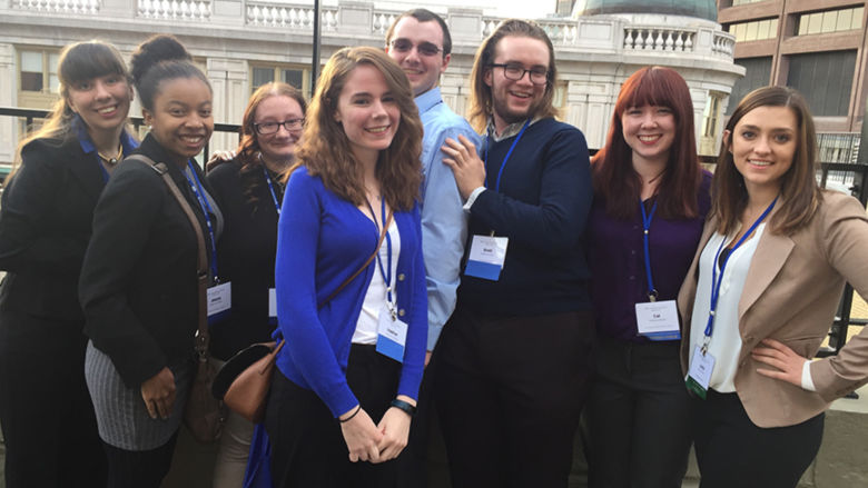Several Penn State Schuylkill students pose in Boston, MA at the  Eastern Communication Association's James C. McCroskey and Virginia P. Richmond Undergraduate Scholars Conference (ECA-USC).