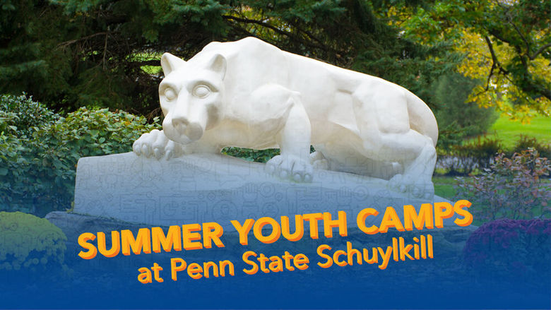 "An image of the lion shrine with ""Summer Youth Camps"" text"