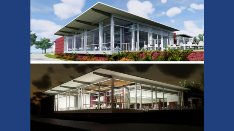 Penn State Schuylkill's dining center renderings shown both during the day and at night.