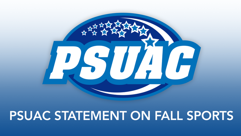 "PSUAC logo on blue and white background with text reading ""PSUAC Statement on Fall Sports."""