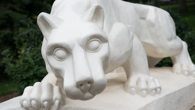 a closeup, head-on image of the iconic Penn State lion shrine at the Schuylkill campus
