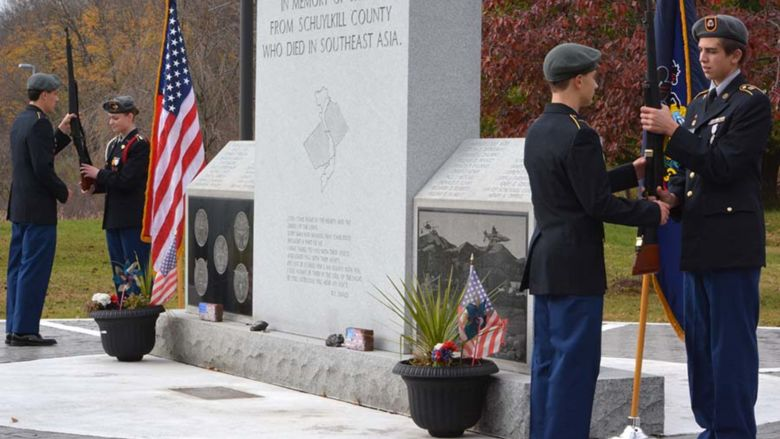 Students from Pine Grove Area High School ROTC present colors